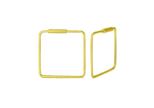Große Creolen Ohrringe Quadrat - 925er Sterling Silber - Gold - 16mm