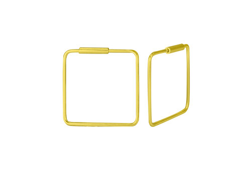 Hoops Earrings square - 925 Sterling Silver Gold
