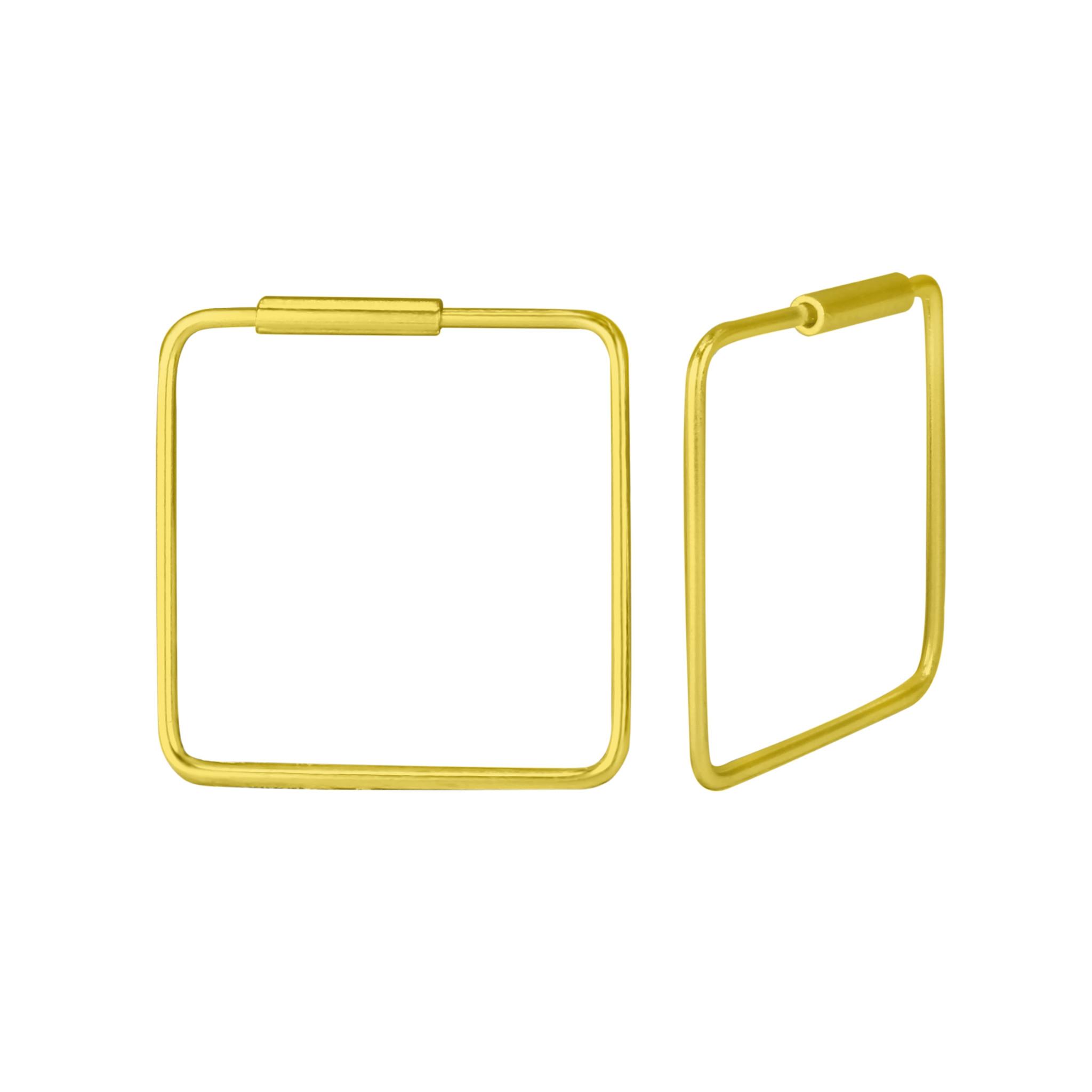 Große Creolen Ohrringe Quadrat - 925er Sterling Silber - Gold - 16mm-1
