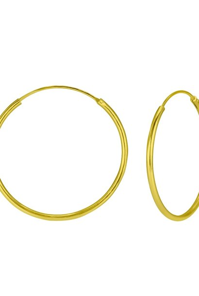 Large Hoops Earrings - 925 Sterling Silver Gold