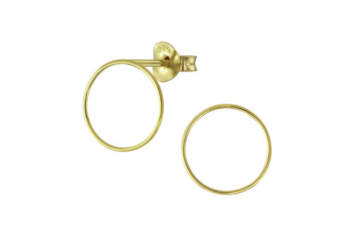 Fine Ear Studs Circle - 925 Sterling Silver - Gold