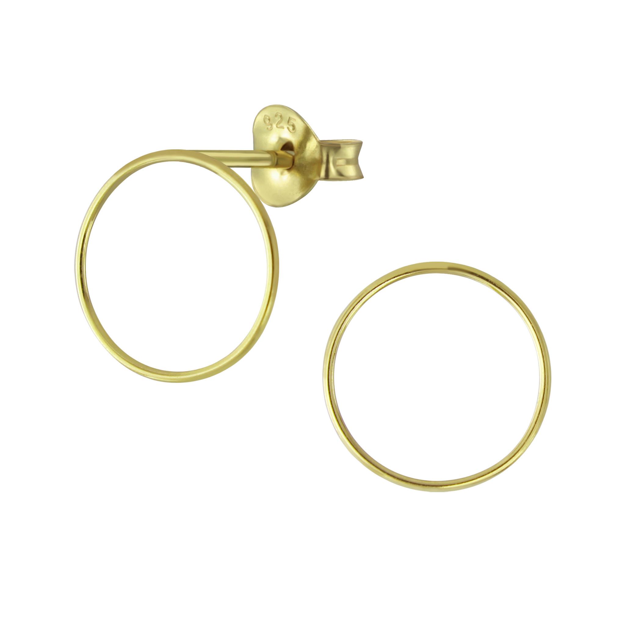 Feine Ohrstecker Kreis - 925er Sterling Silber - Gold-1