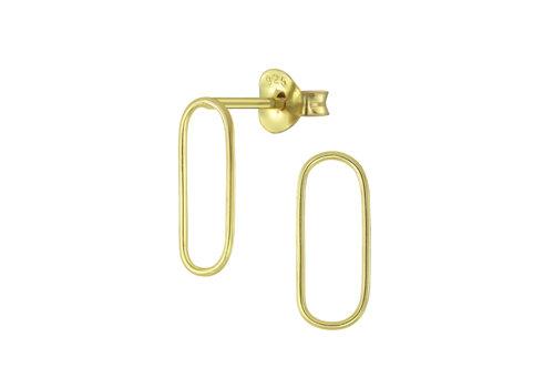 Feine Ohrstecker Oval - 925er Sterling Silber - Gold