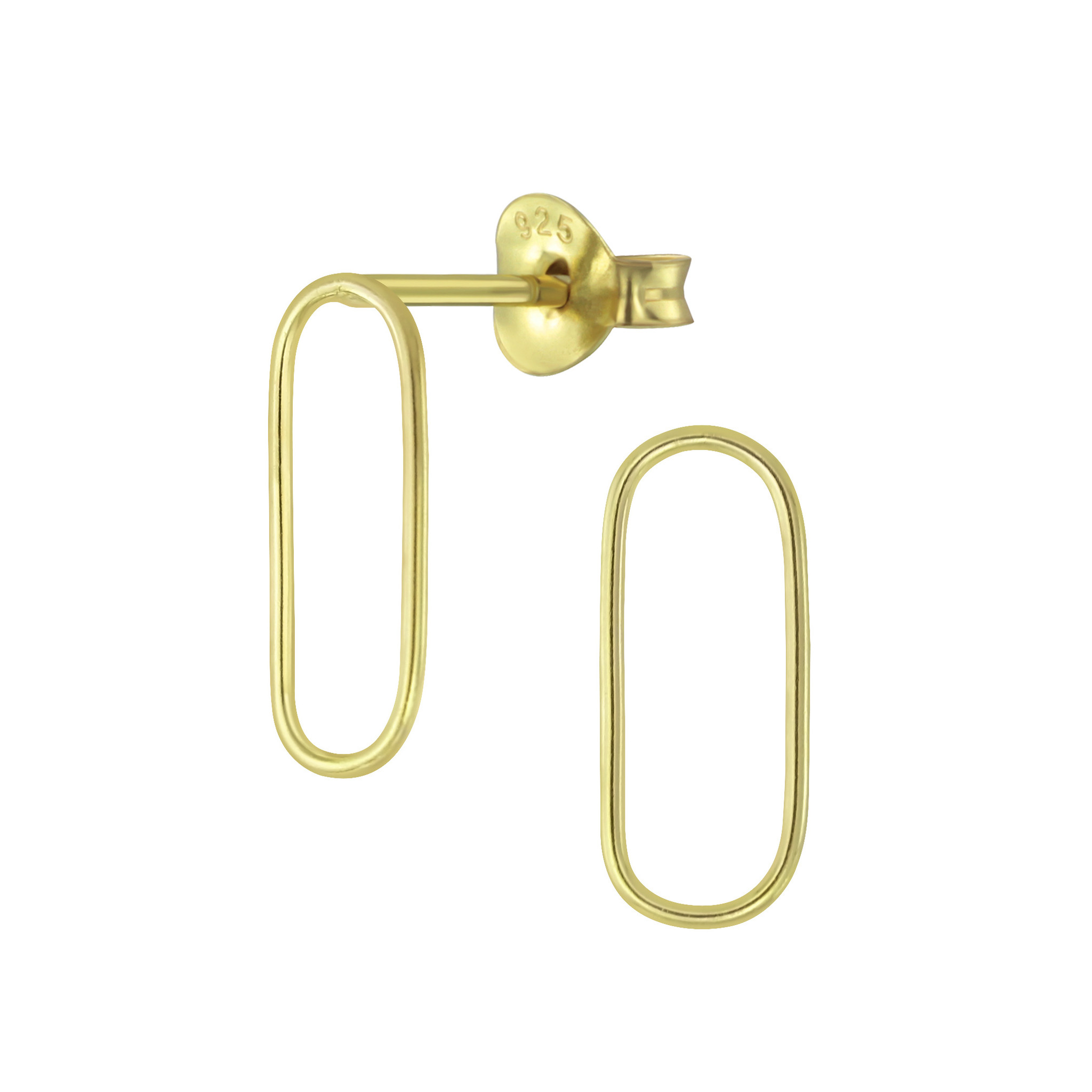 Fine Ear Studs Oval - 925 Sterling Silver - Gold-1
