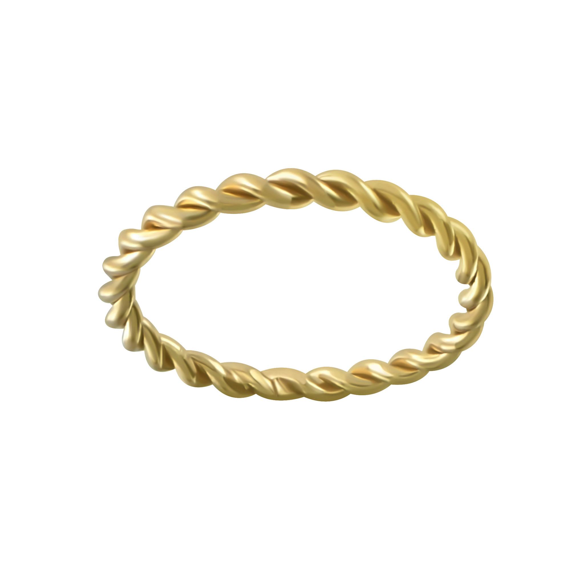 Breit geflochtener Ring aus 925er Sterling Silber - Gold-1