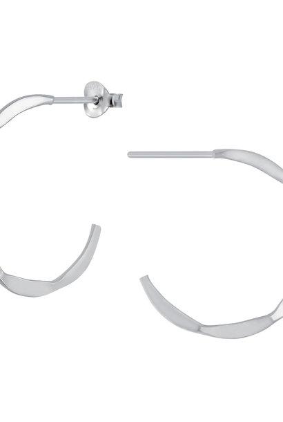 Große Creolen Ohrringe mit Struktur - 925er Sterling Silber