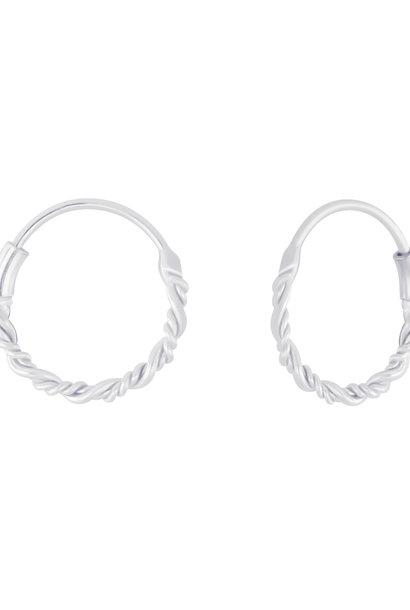 Kleine Creolen Ohrringe geflochten - 925er Sterling Silber