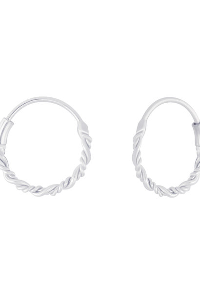 Small Hoops Earrings braided - 925 Sterling Silver