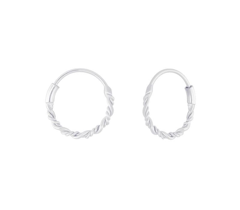 Small Hoops Earrings braided - 925 Sterling Silver