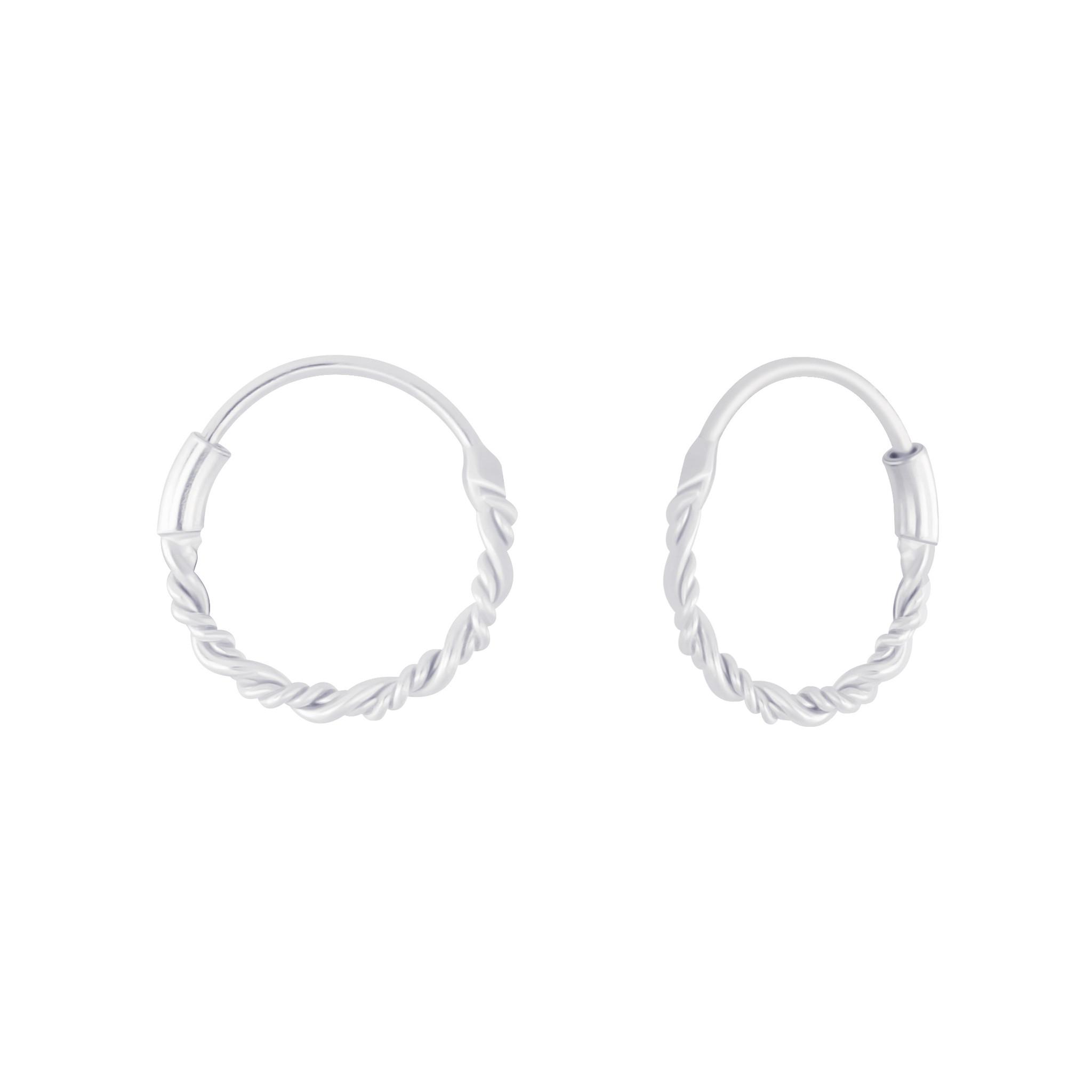 Small Hoops Earrings braided - 925 Sterling Silver-1