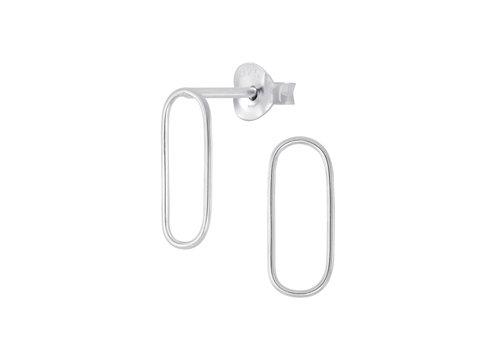 Fine Ear Studs Oval - 925 Sterling Silver