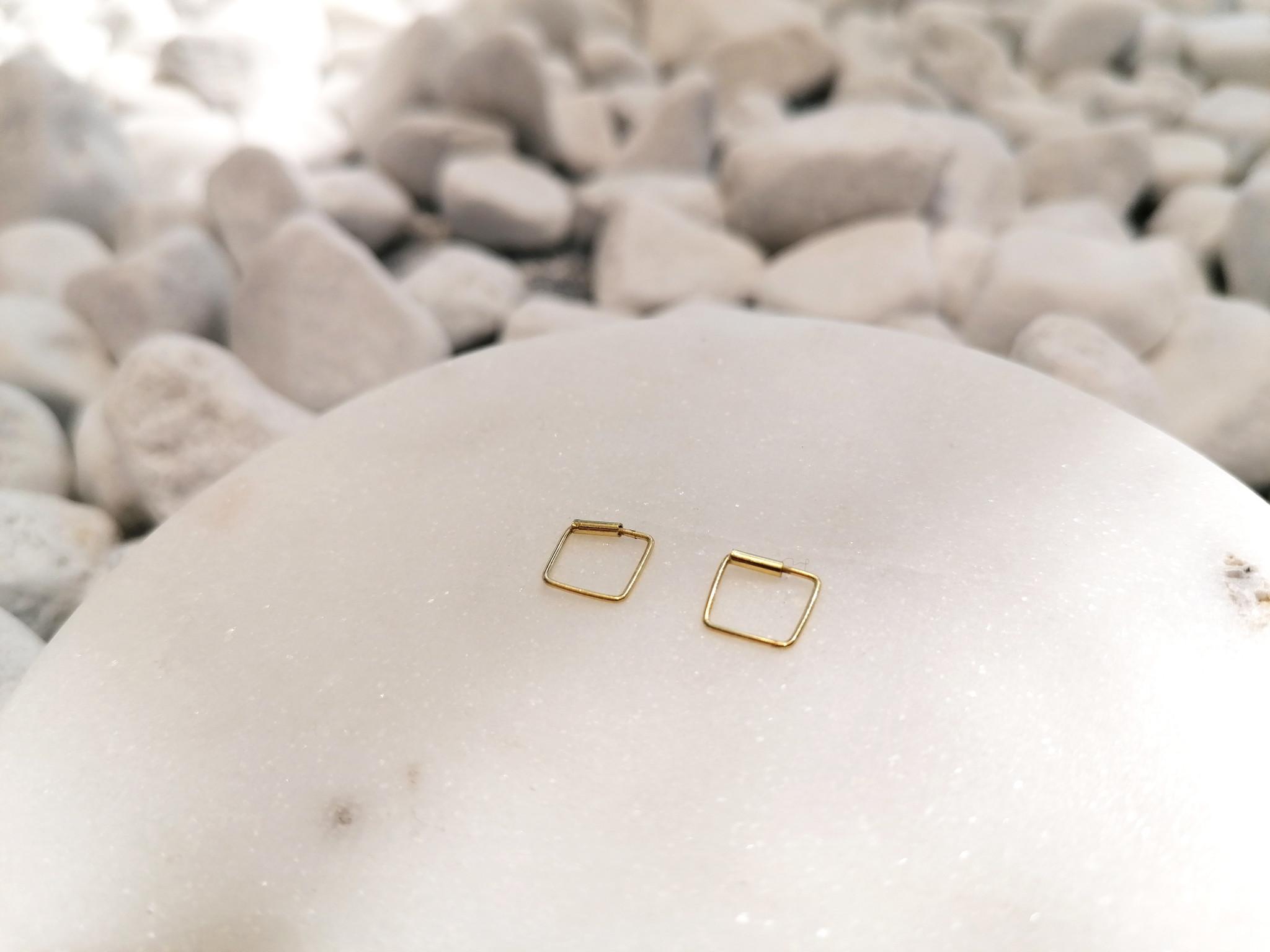 Kleine Creolen Ohrringe Quadrat - 925er Sterling Silber - Gold - 8mm-3