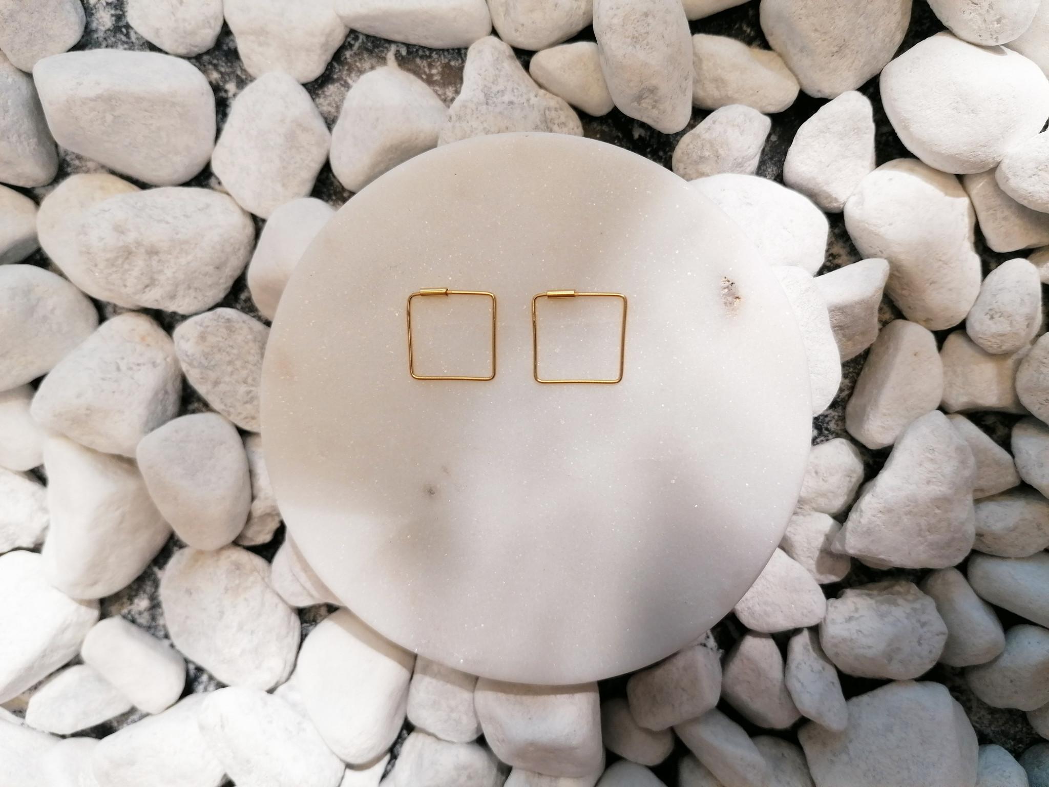 Große Creolen Ohrringe Quadrat - 925er Sterling Silber - Gold - 16mm-2