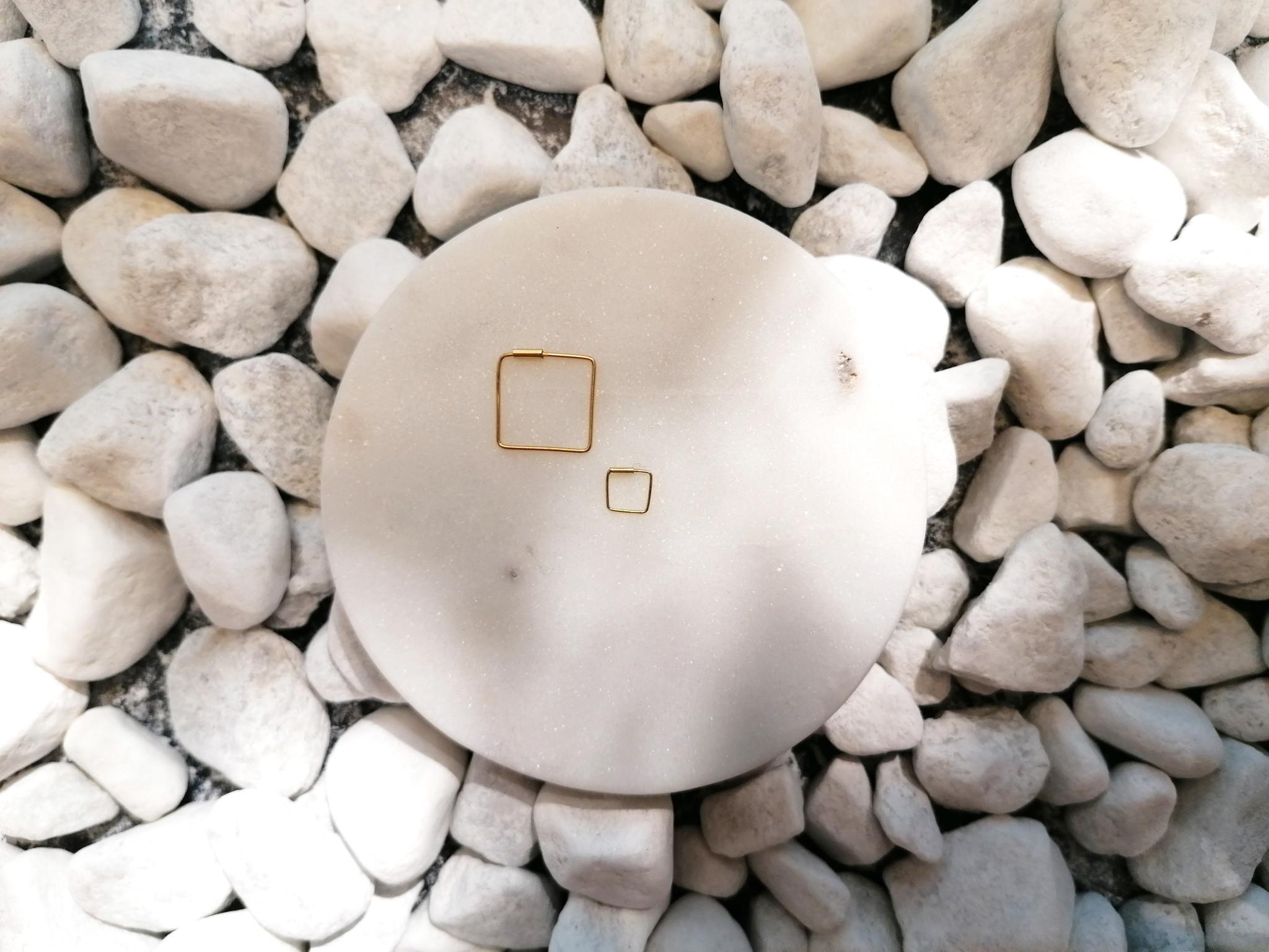 Kleine Creolen Ohrringe Quadrat - 925er Sterling Silber - Gold - 8mm-4