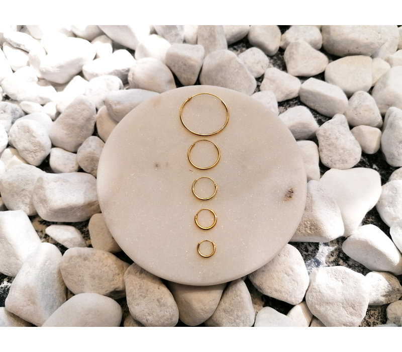 Large Hoops Earrings - 925 Sterling Silver Gold