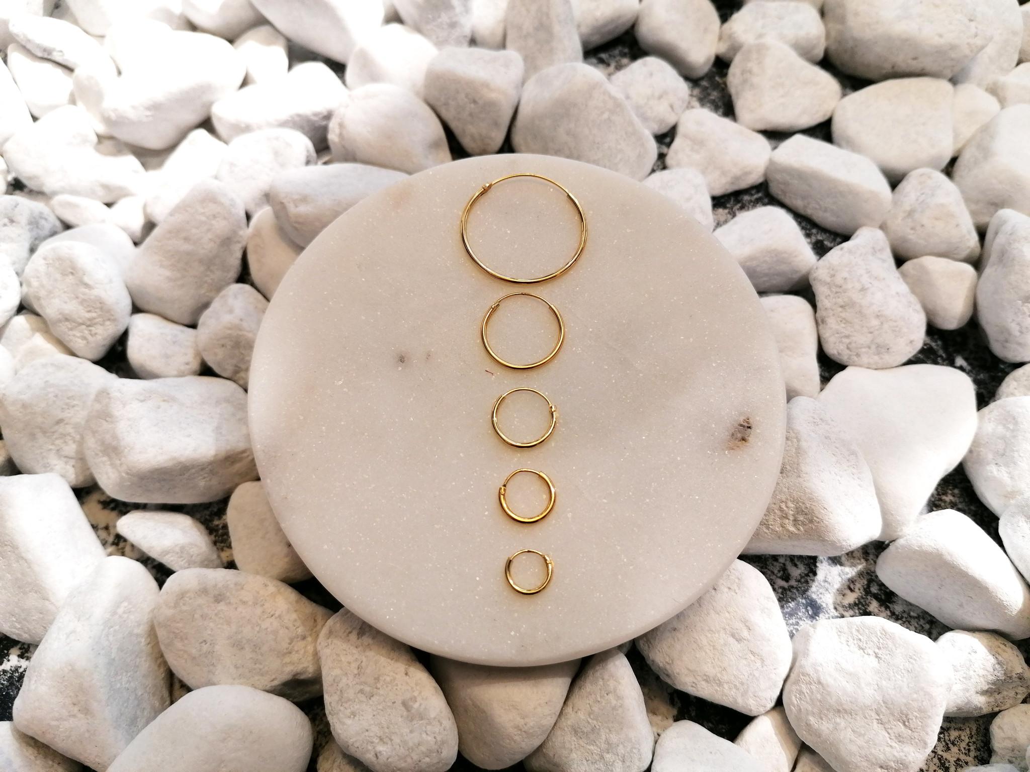 Große Creolen Ohrringe - 925er Sterling Silber - Gold-5