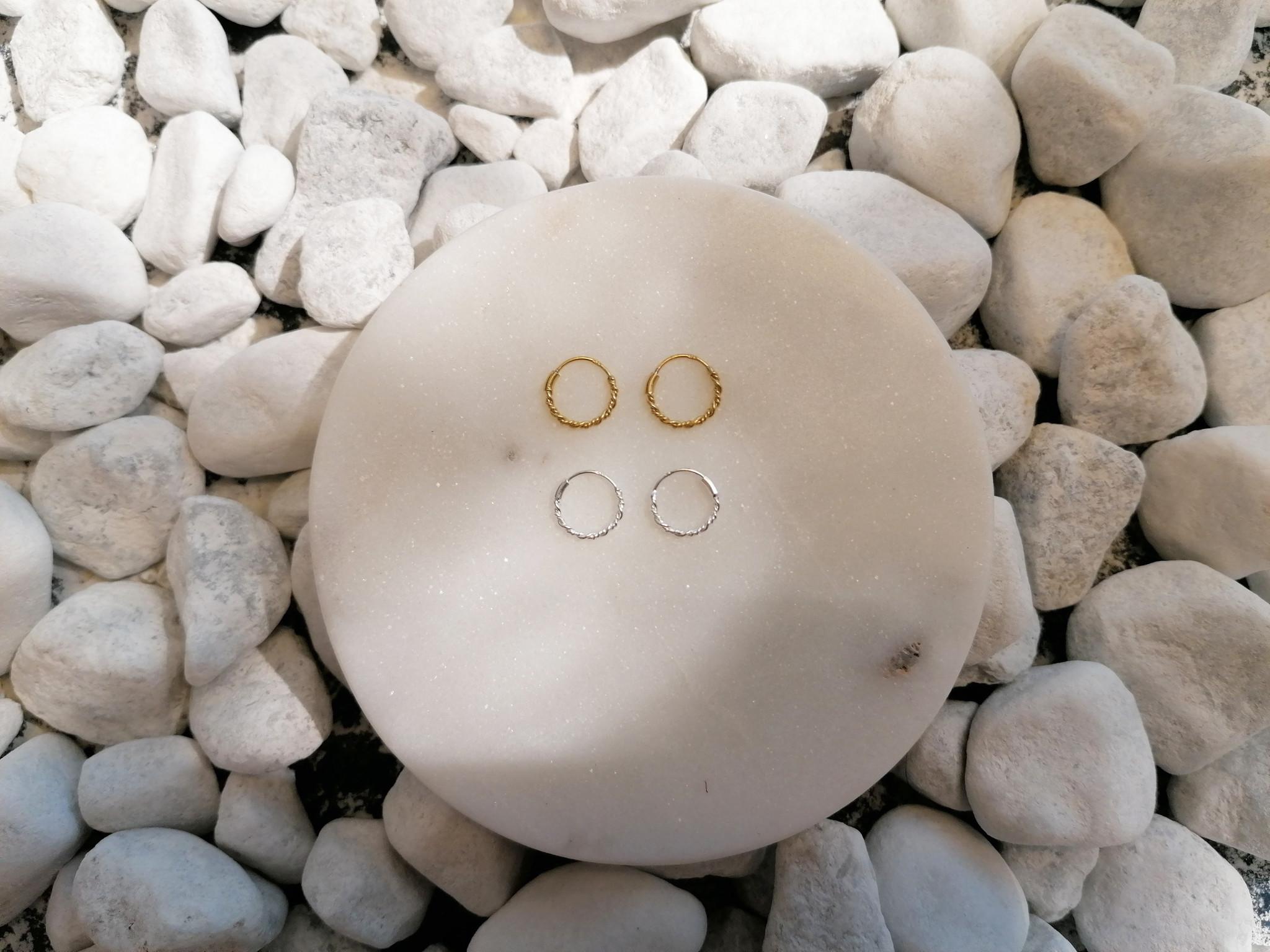 Kleine Creolen Ohrringe geflochten - 925er Sterling Silber-4