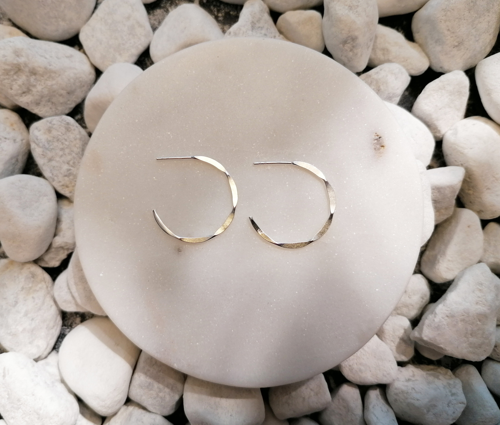 Large Hoop Earrings with texture - 925er Sterling Silver-2