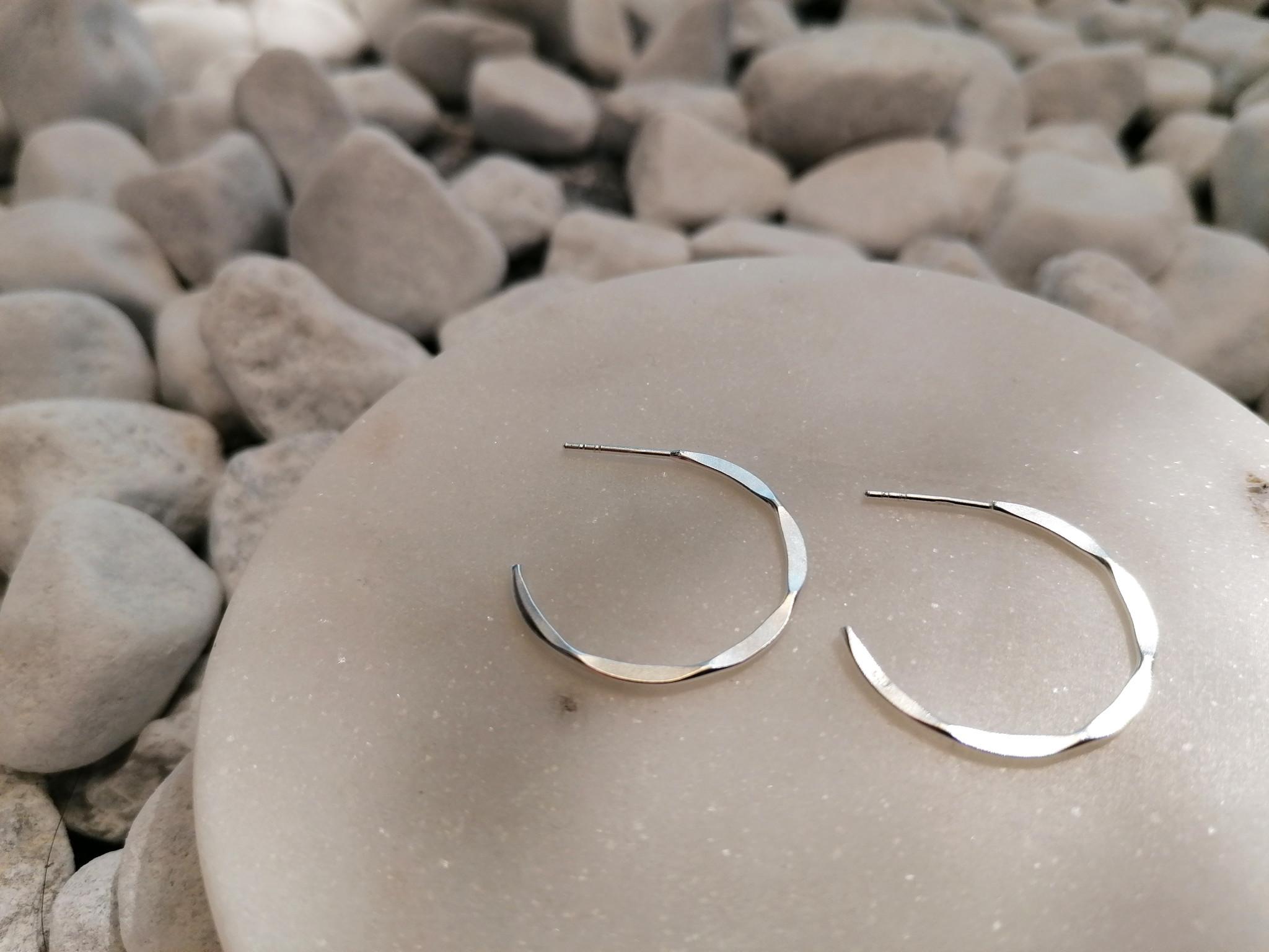 Large Hoop Earrings with texture - 925er Sterling Silver-4