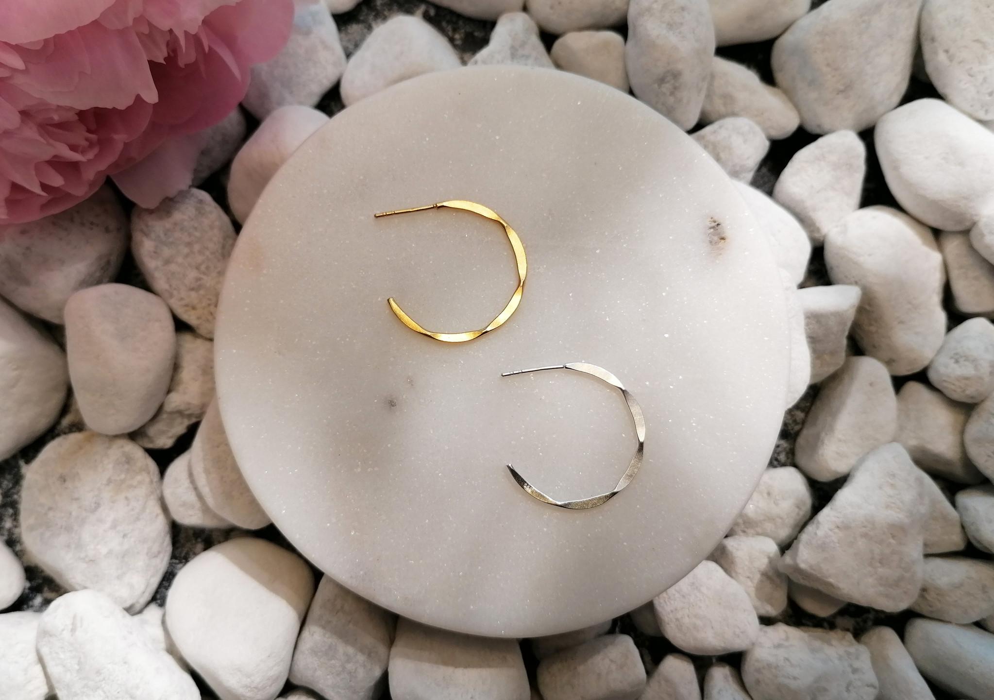 Large Hoop Earrings with texture - 925er Sterling Silver-6
