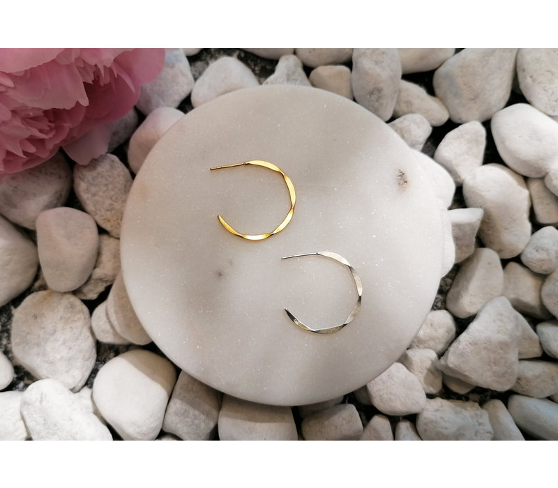 Big Hoop Earrings with texture - 925er Sterling Silber - Gold