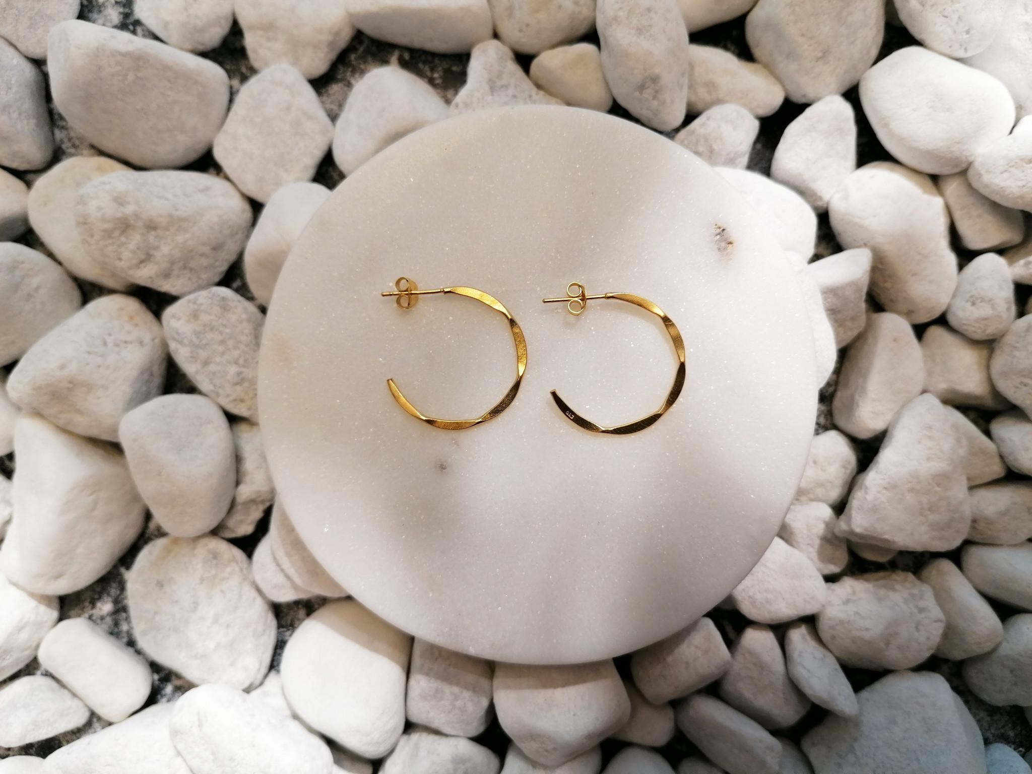 Große Creolen Ohrringe mit Struktur - 925er Sterling Silber - Gold-3