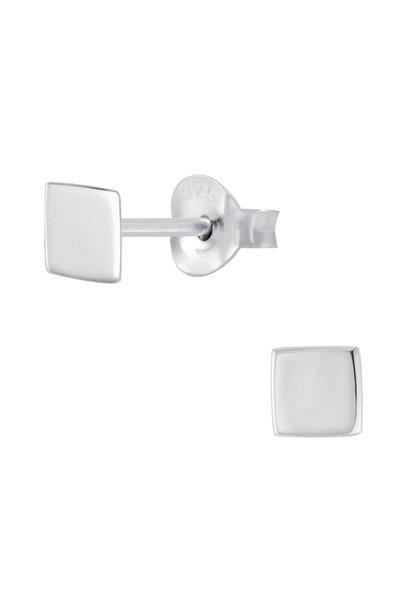 Fine square stud earrings - 925 sterling silver