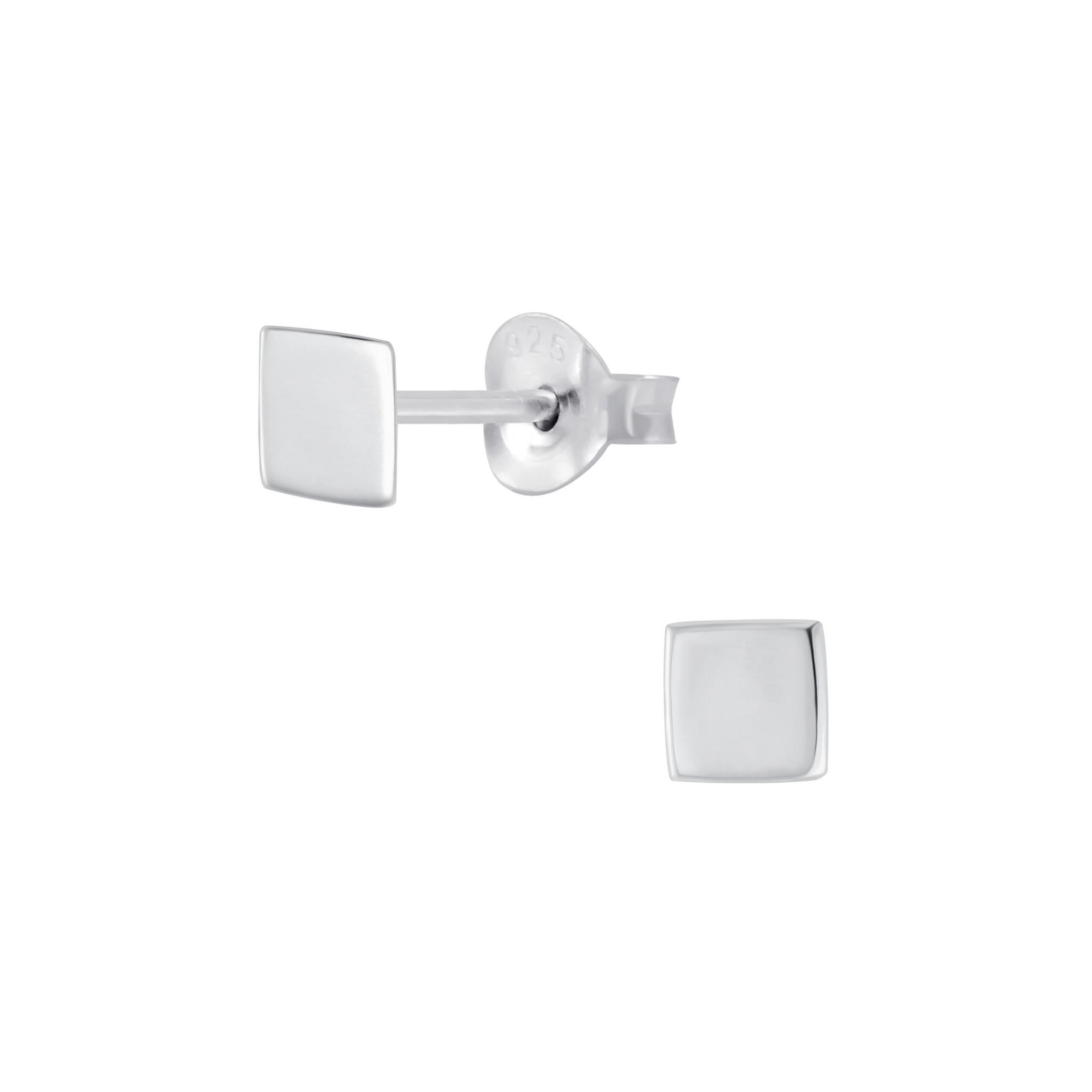 Feine quadratische Ohrstecker- 925er Sterling Silber-1