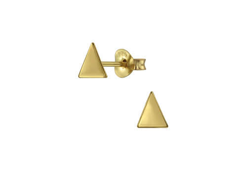 Delicate triangle ear studs made of 925 sterling silver - gold