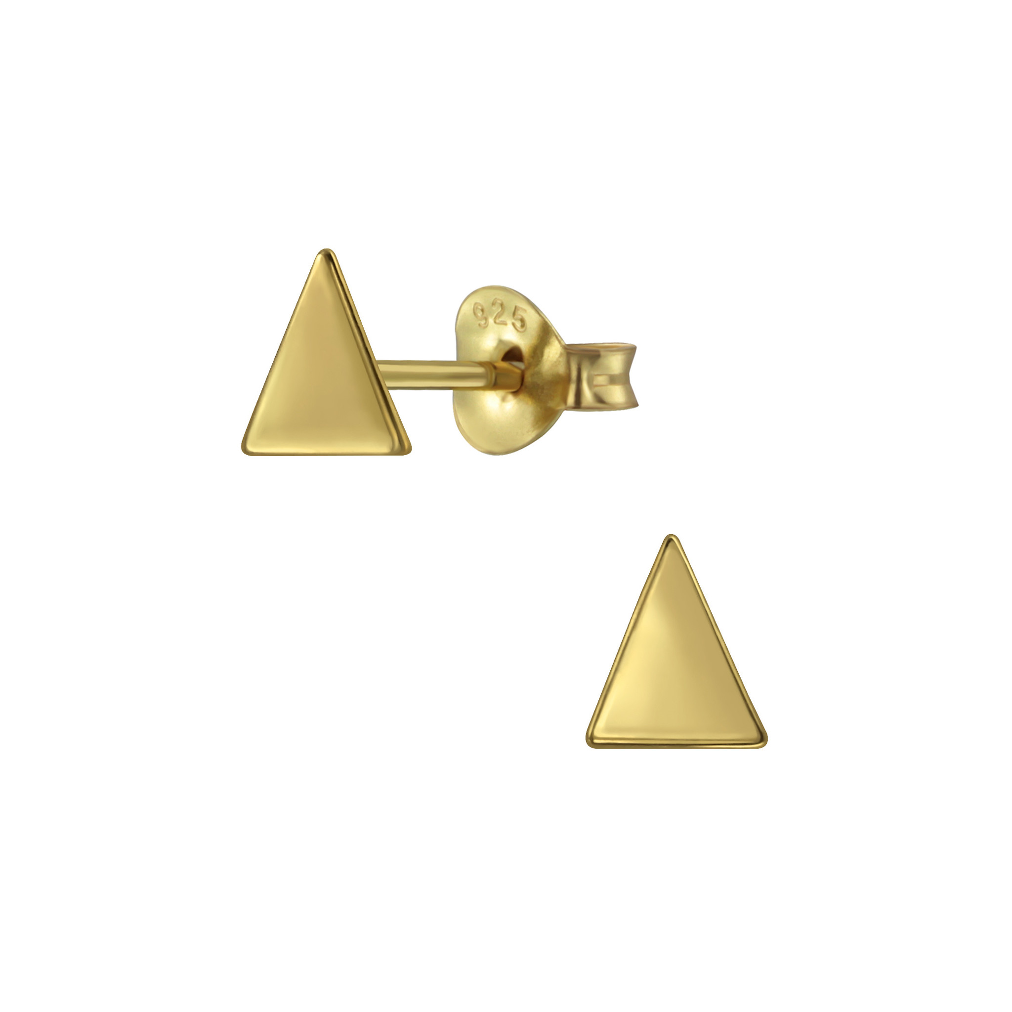 Delicate triangle ear studs made of 925 sterling silver - gold-1