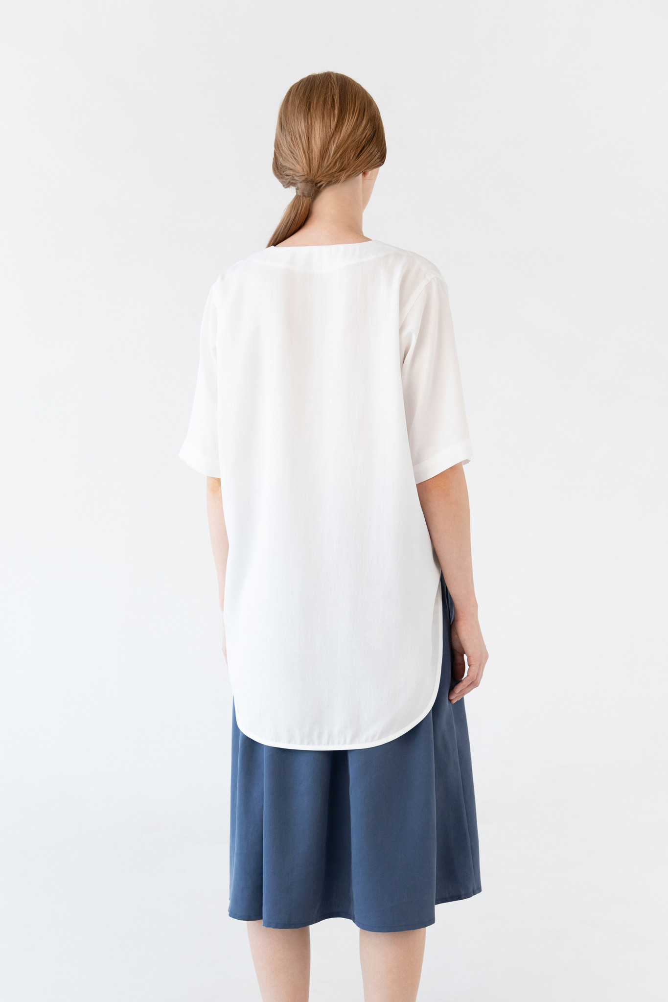 Blouse with rounded hem made of tencel - blue-4