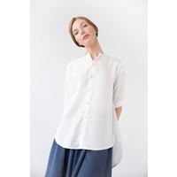 Bluse mit rundem Saum aus Tencel - Weiß