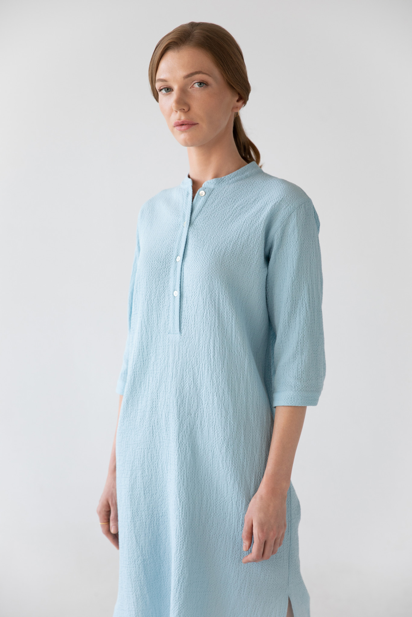 Organic cotton caftan - light blue-2