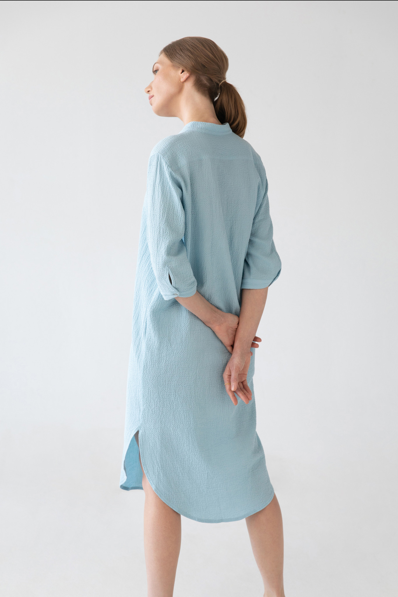 Organic cotton caftan - light blue-5