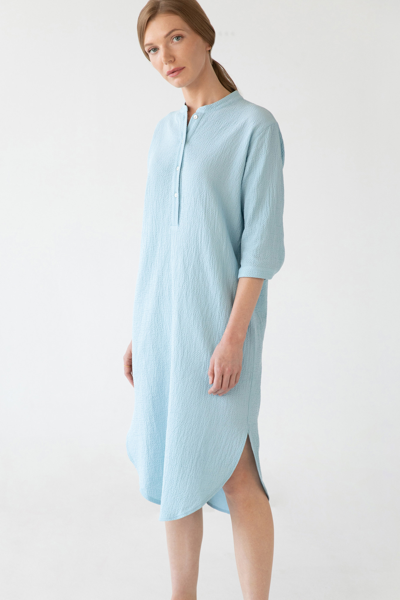 Organic cotton caftan - light blue-3