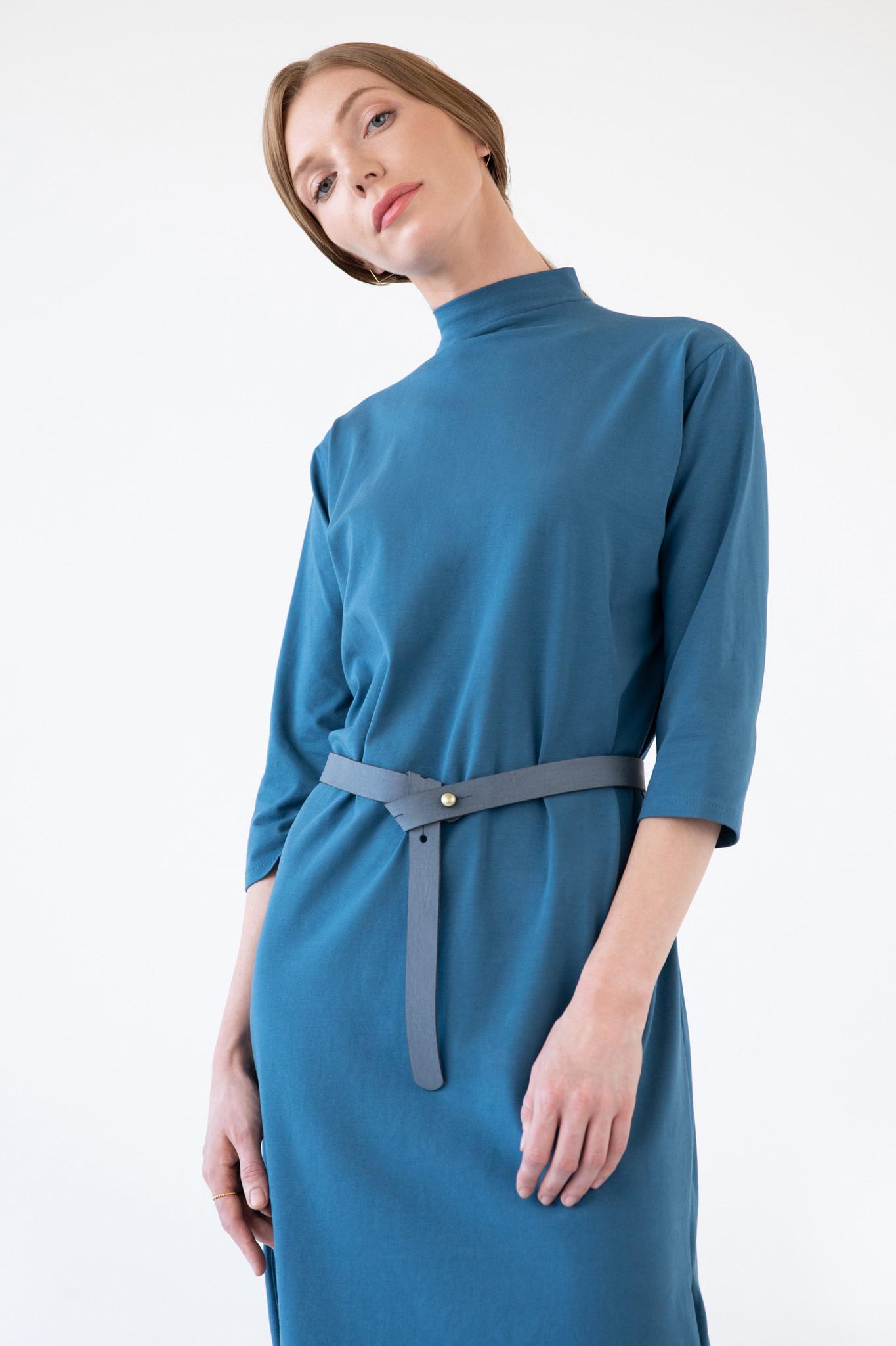 Jerseykleid mit rundem Saum - Petrol-2