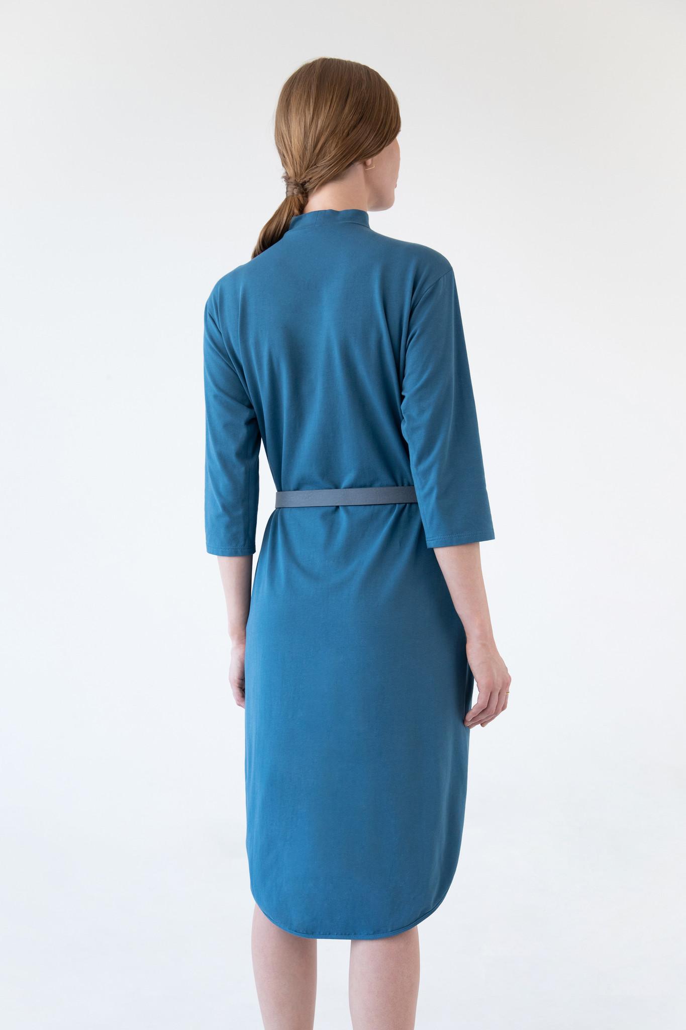 Jerseykleid mit rundem Saum - Petrol-5