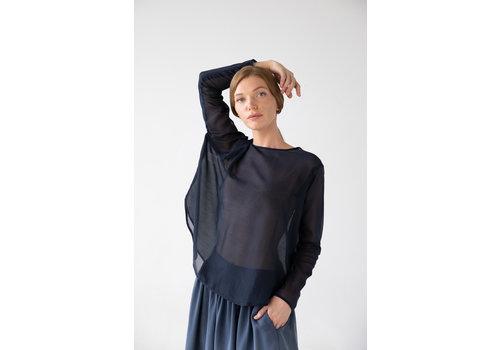 Shirt with round hem made of silk blend - blue