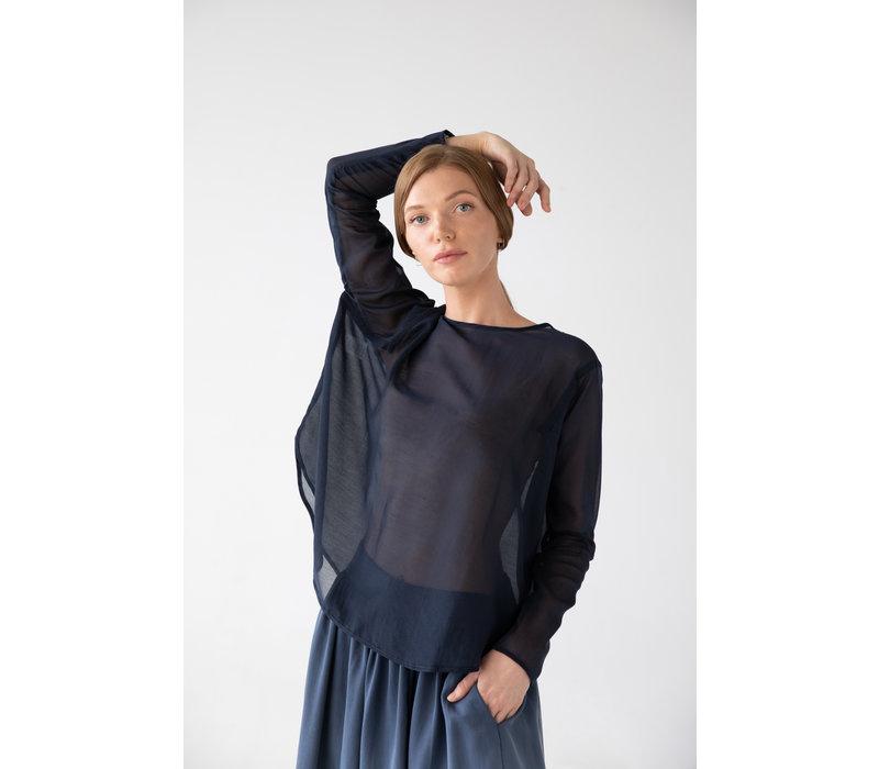 Shirt mit rundem Saum aus Seide - navy