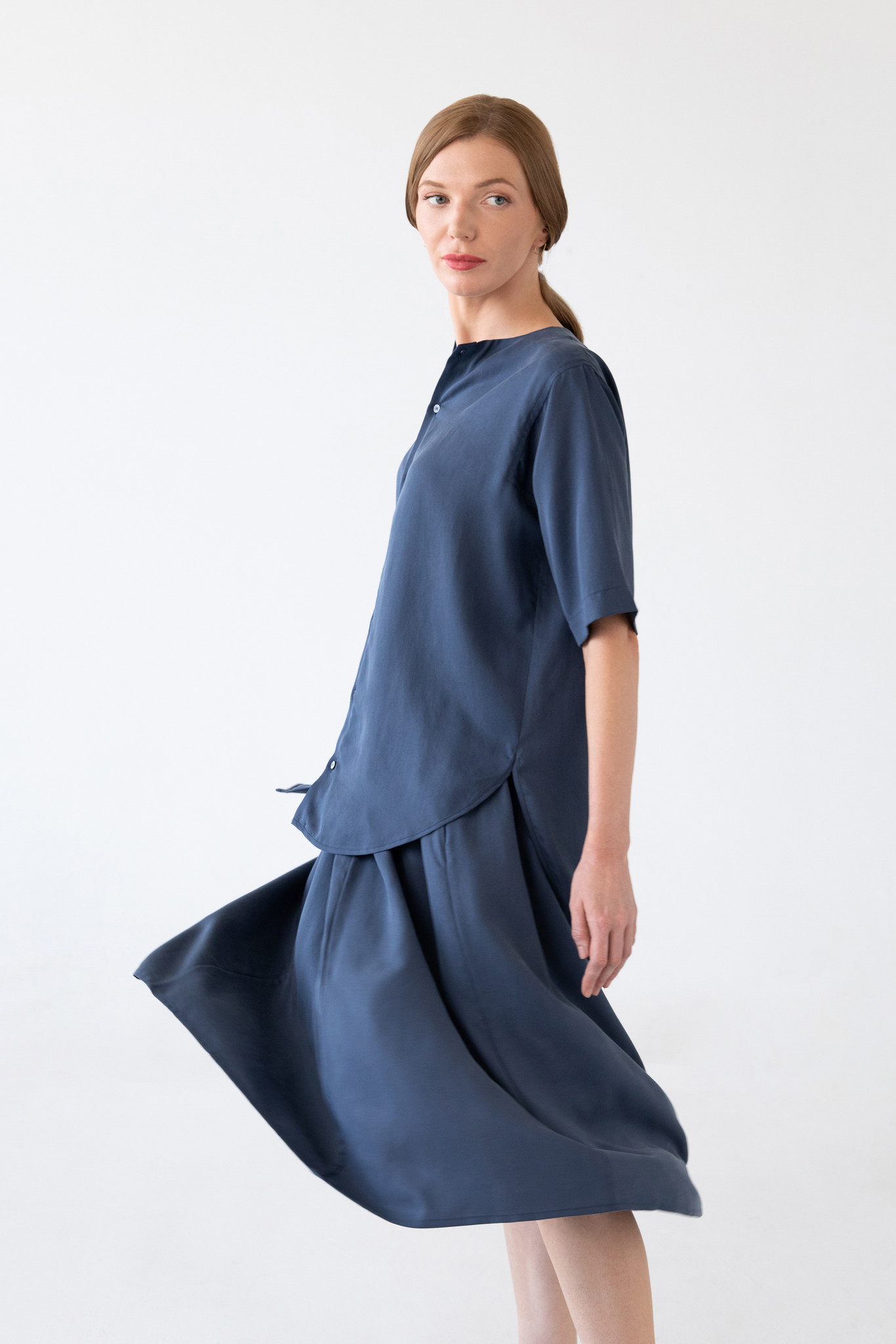 Bluse mit kurzem Arm aus Tencel - Blau-4