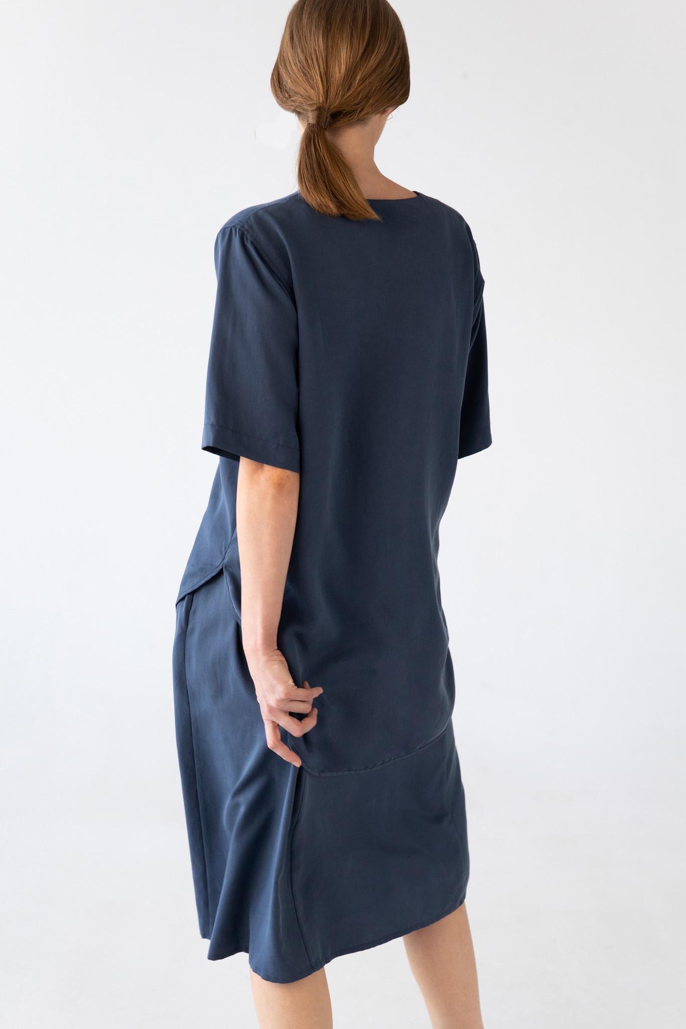 Bluse mit kurzem Arm aus Tencel - Blau-5