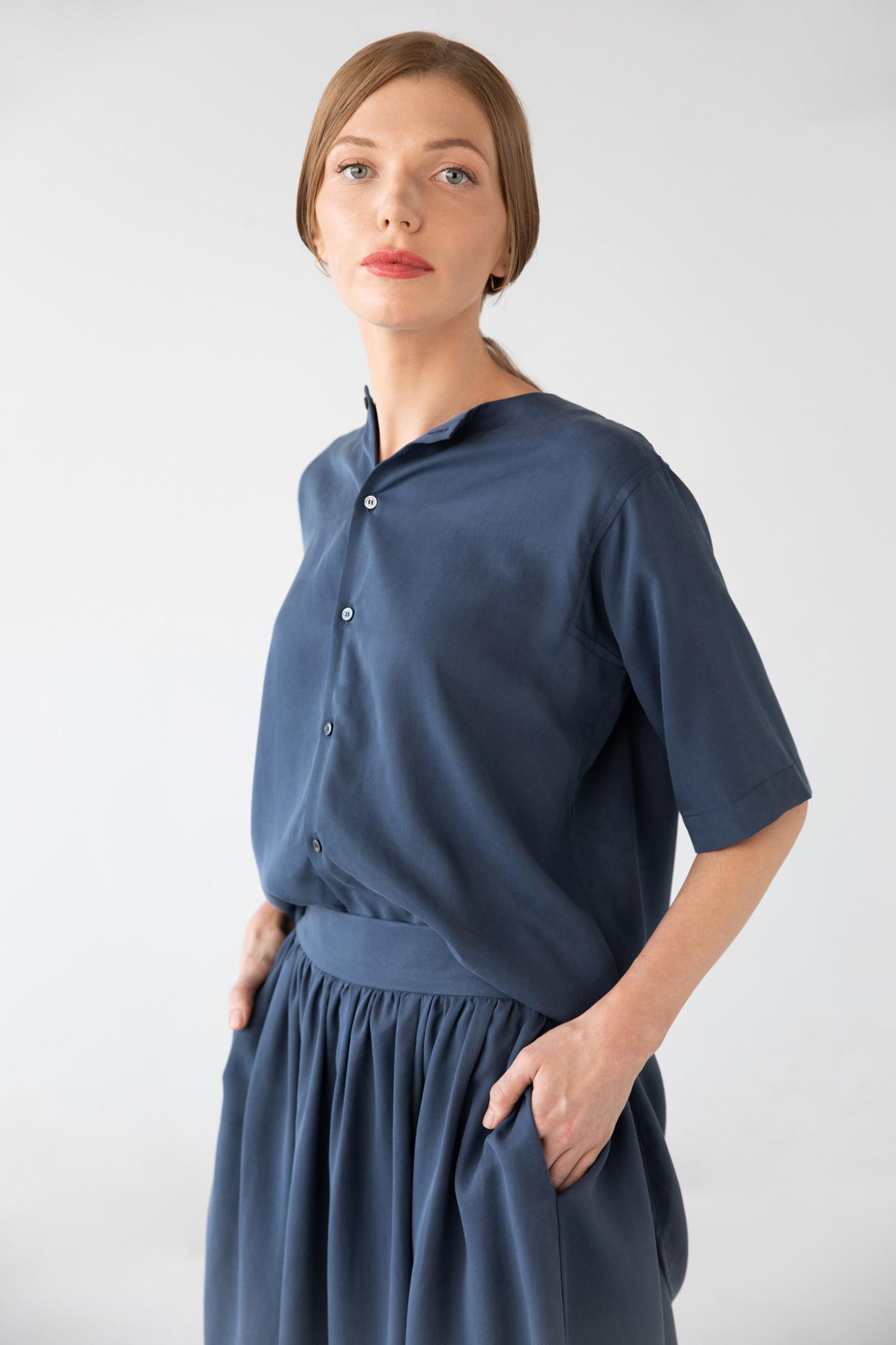 Bluse mit kurzem Arm aus Tencel - Blau-1
