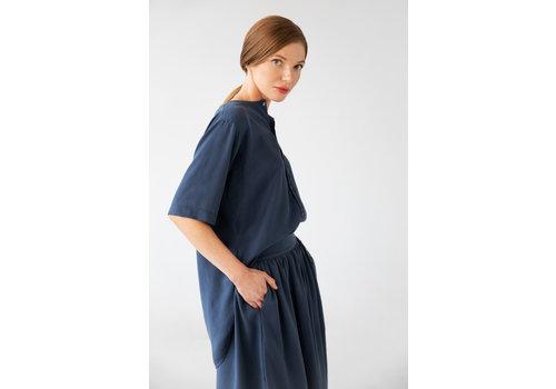 Bluse mit kurzem Arm aus Tencel - Blau