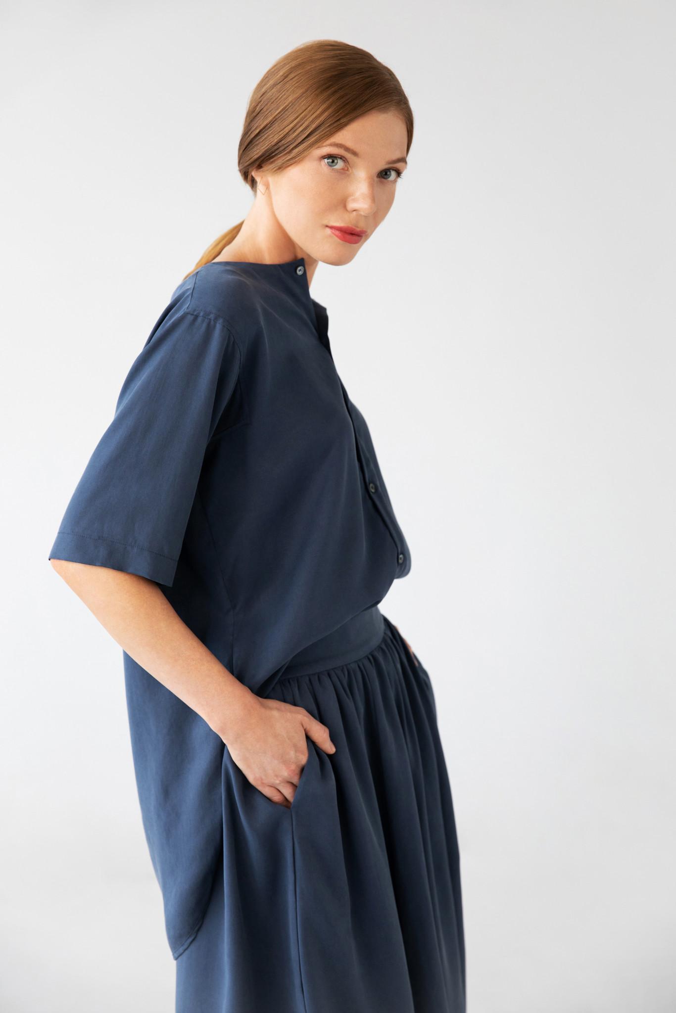 Bluse mit kurzem Arm aus Tencel - Blau-2