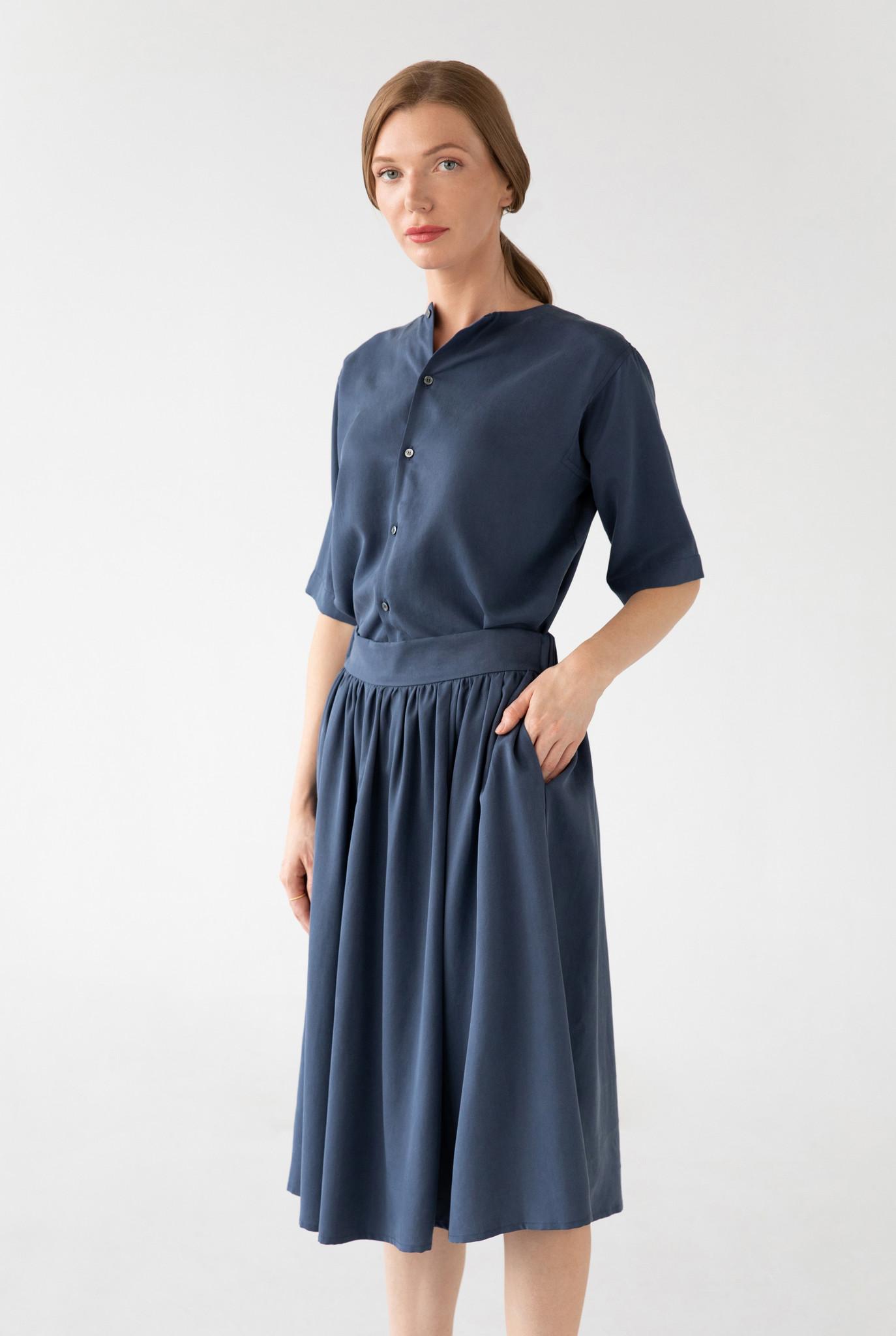 Bluse mit kurzem Arm aus Tencel - Blau-6