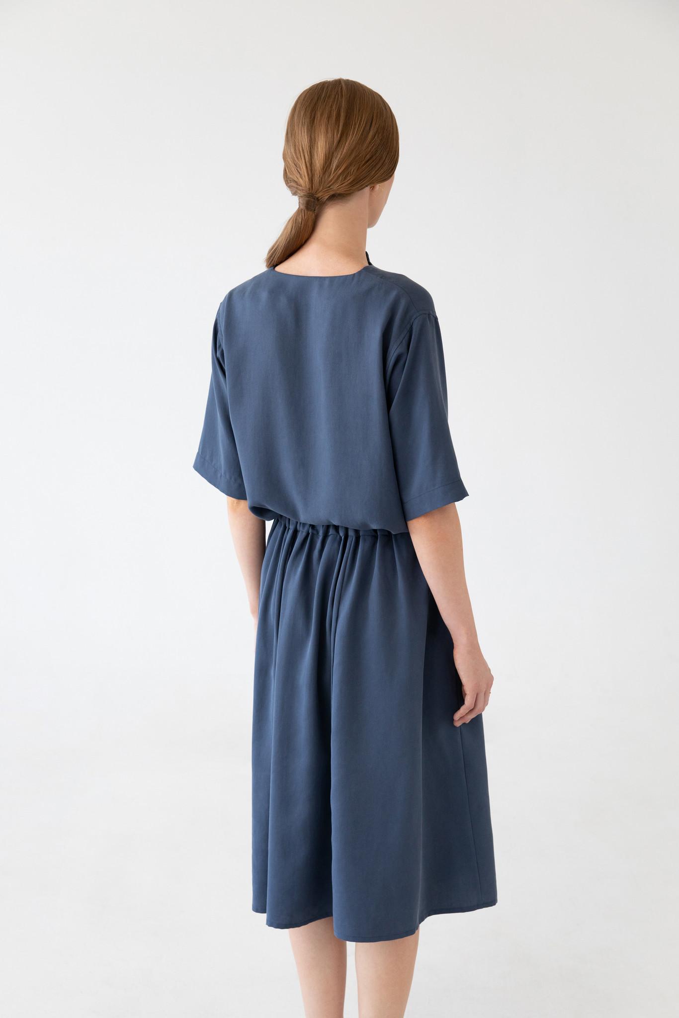 Bluse mit kurzem Arm aus Tencel - Blau-7