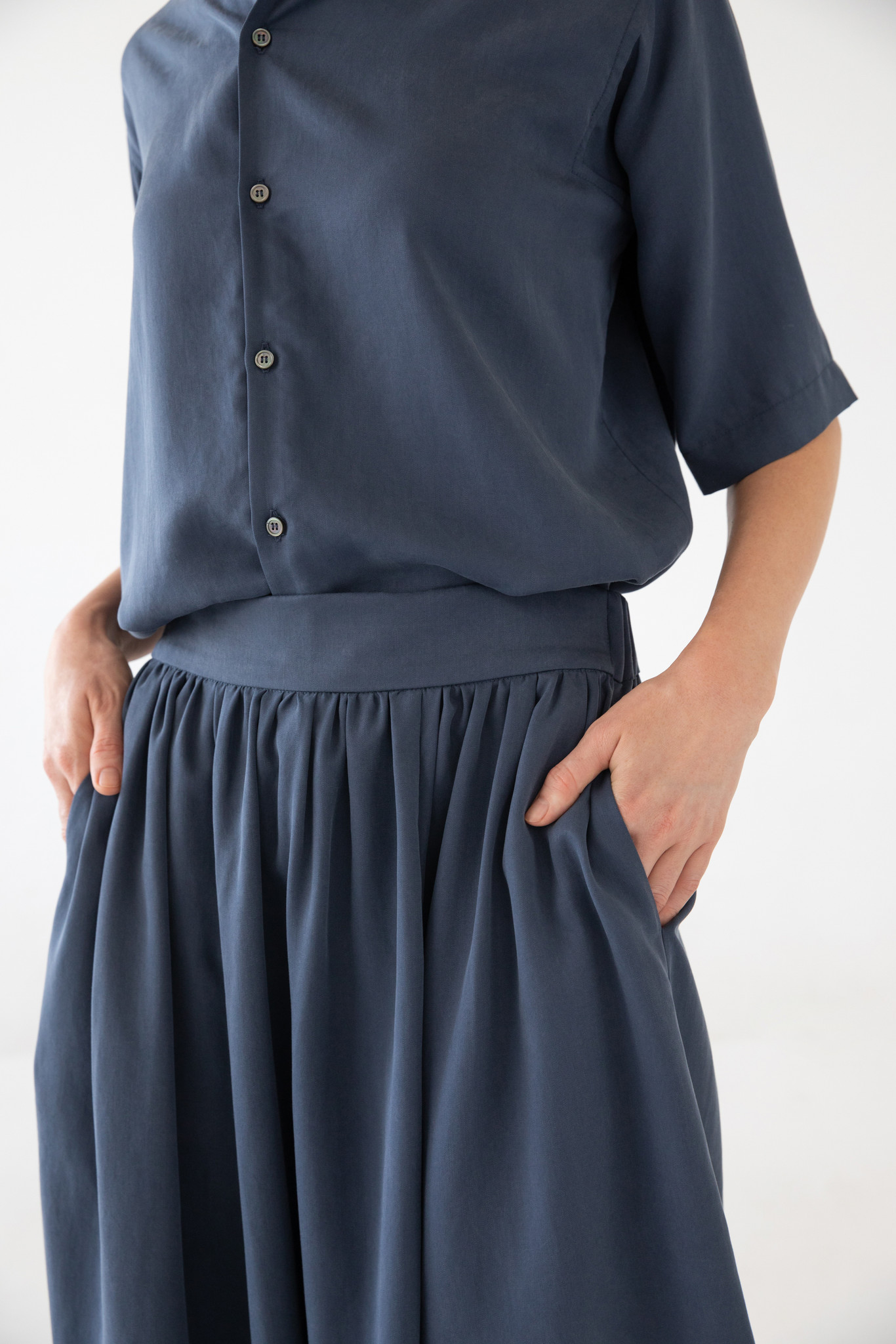 Bluse mit kurzem Arm aus Tencel - Blau-8
