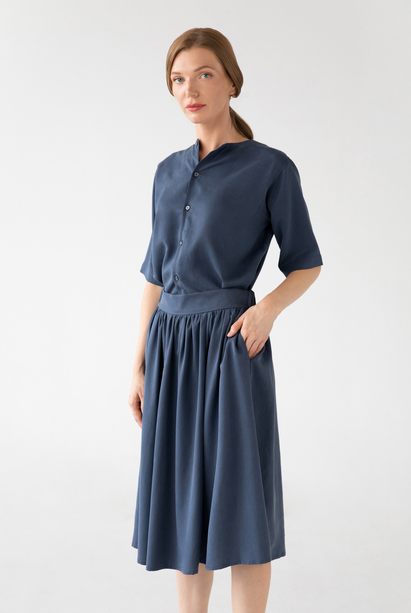 Midi Rock aus Tencel - Blau-4