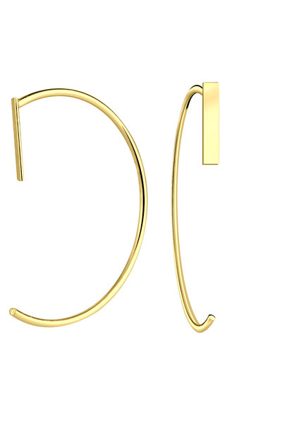 Puristic earring with bar made of 925 sterling silver - gold