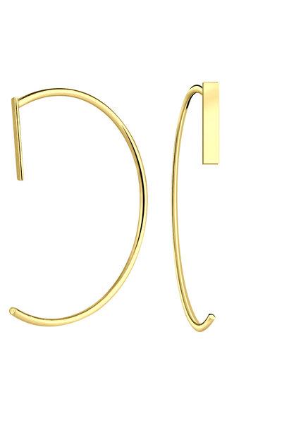 Puristischer Bügel Ohrring mit Stab aus 925er Sterling Silber - Gold